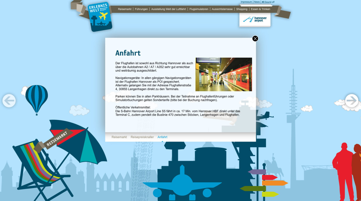 Elebniswelt Hannover Airport Website