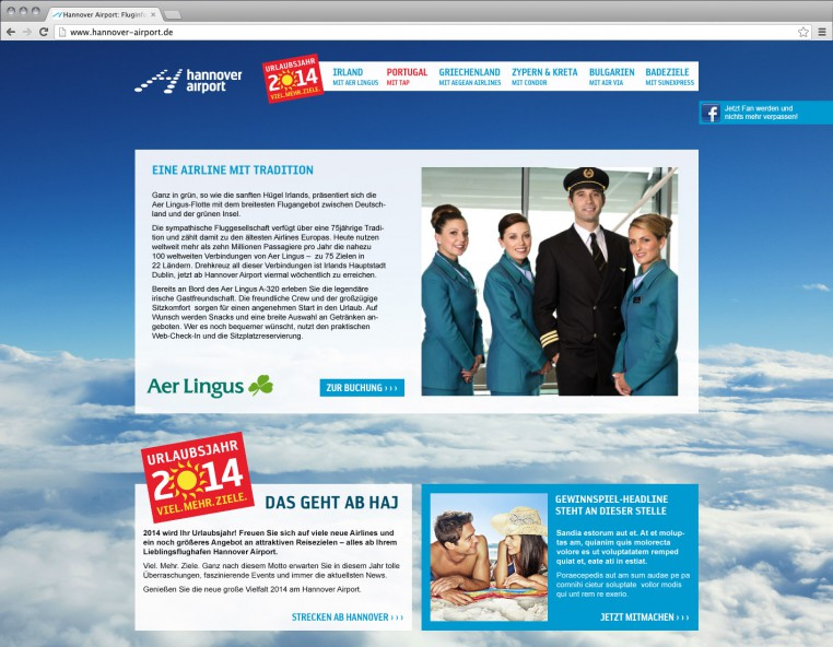 Hannover Airport Microsite